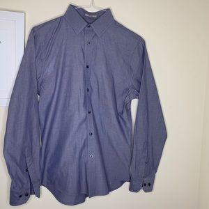Express men's denim color long sleeve button down